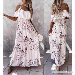 Šaty dlhé carmen cez ramená kvetované dámske (S / M ONE SIZE) TALIANSKÁ MÓDA IMM21722/DR
