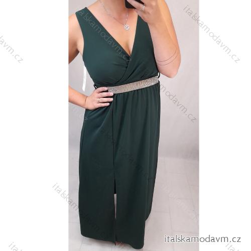 Šaty elegantné spoločenské na ramienka dámske (S / M ONE SIZE) TALIANSKÁ MÓDA IM321609/DR S / M tmavá zelená