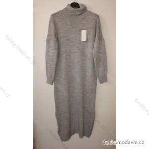 Šaty dlhé pletené s rolákom dlhý rukáv dámske (L / XL ONE SIZE) TALIANSKÁ MÓDA IM4212550
